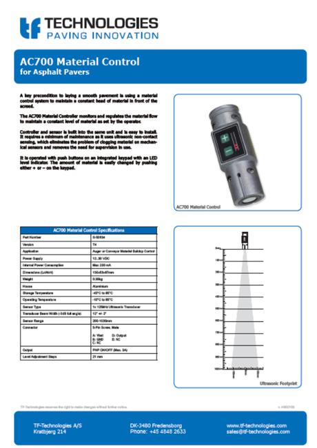 AC700 Material Controller TF-Technologies Material Sensor - Controller - Feeder