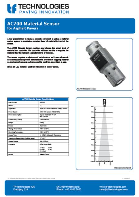 AC700 Material Sensor T7 - Feeder - TF-Technologies Material Sensor