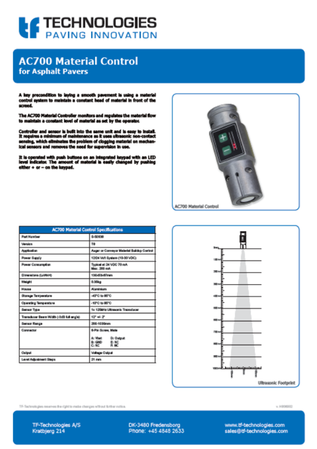 AC700 Material Controller t8 - Feeder - TF-Technologies Material Sensor