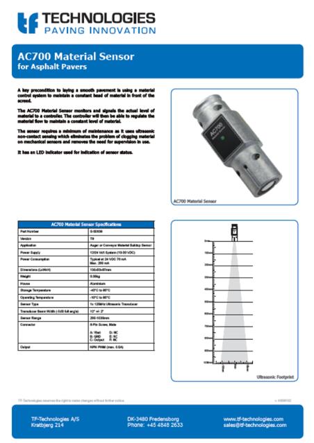 AC700 Material Sensor T19 for Asphalt Pavers