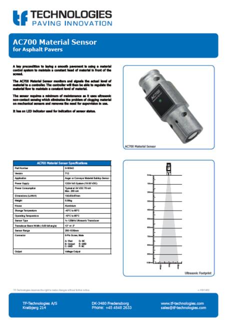 AC700 Material Sensor T12- Feeder - TF-Technologies Material Sensor