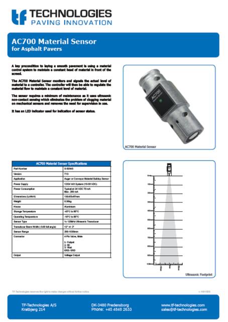 AC700 Material Sensort13 - Feeder - TF-Technologies Material Sensor