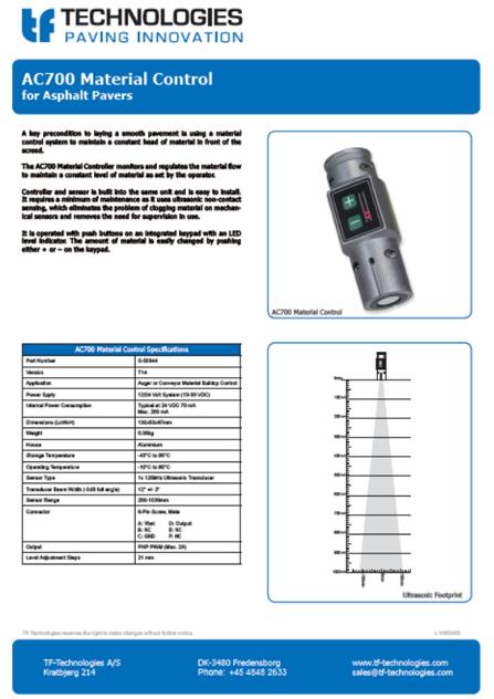 AC700 Material Sensor t14 - Feeder - TF-Technologies Material Sensor