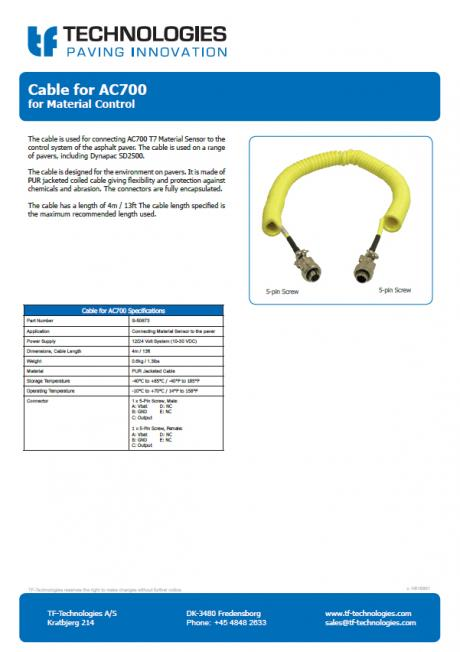 Cable for AC700 T7 Material Sensor