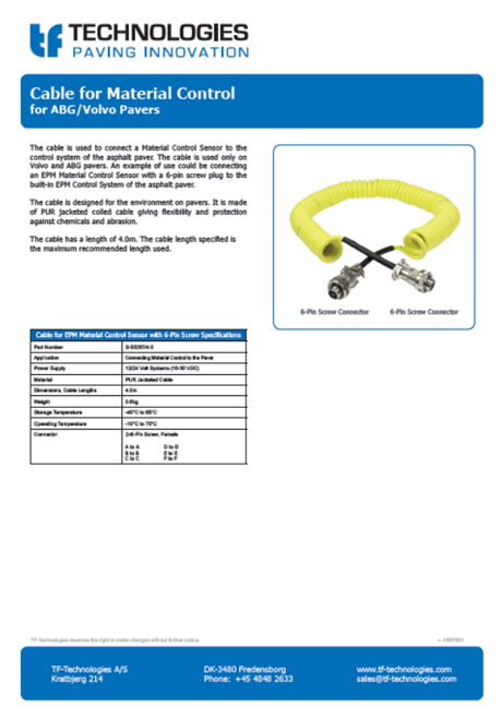 TF-Technologies manufacturer of high Quality cables for the paving industry