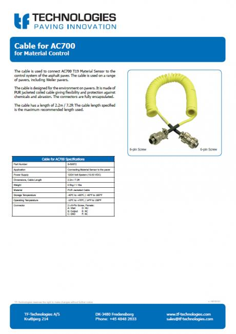 Cable for AC700 T19 Material Sensor