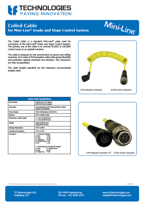 Coiled Cable - Mini-Line - Multisensor G224 G221