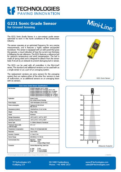 G221 Sonic Grade Sensor from TF-Technologies - Paving made easy
