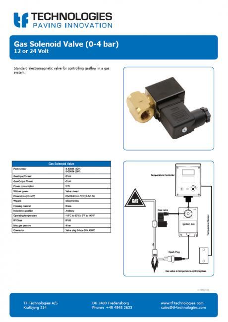 Gas Solenoid Valve (0-4 bar) 12 or 24 Volt