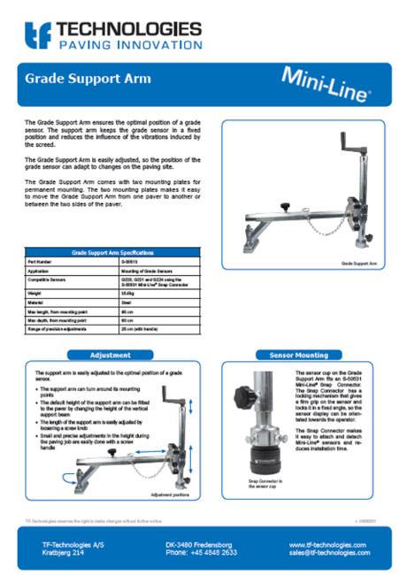 Grade Support Arm - Mini-Line TF-Technologies