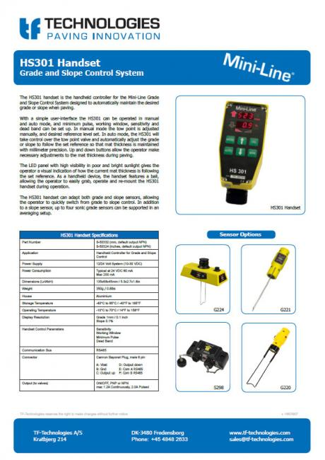 HS301 Handset - Grade and Slope Control System