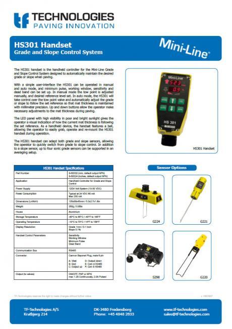 HS301 Handset - Grade and Slope Control System