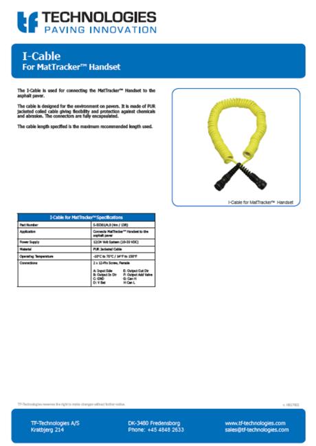 MatTracker handset I-cable