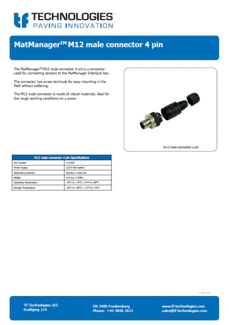 MatManager - M12 male connector 4 pin