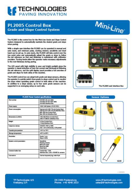 PL2005 Control box Data Sheet