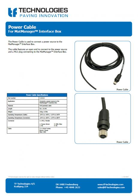 Power Cable for MatManager™