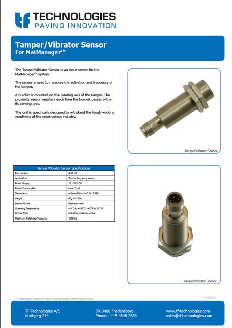 Tamper and Vibrator sensor for MatManager