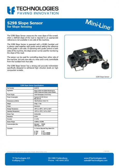 S298 Slope Sensor Mini-Line TF-Technologies