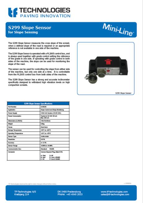 S299 Slope Sensor for PL2005