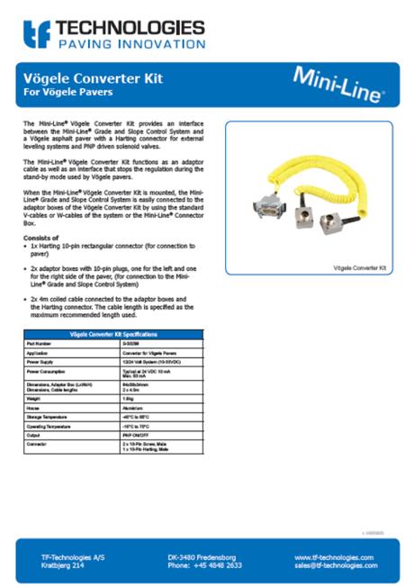 Vögele Converter Kit Mini-Line - TF-Technologies -