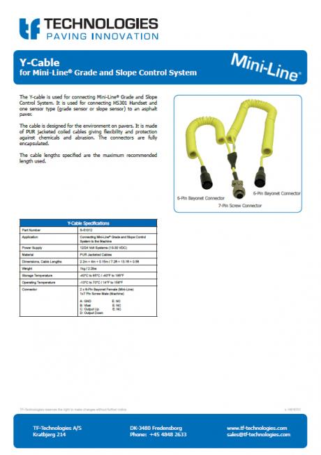 Y-Cable for Mini-Line® Grade and Slope Control System
