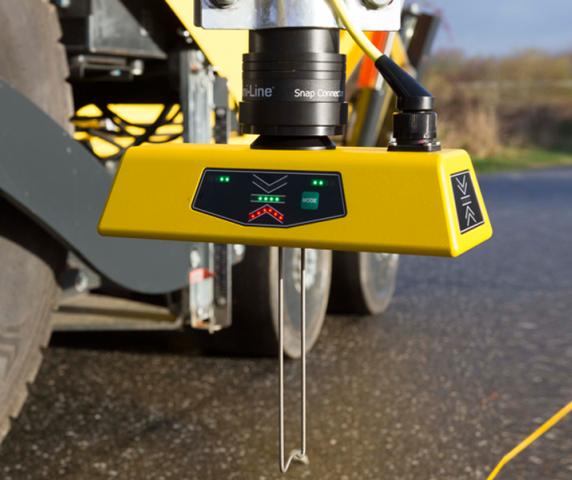 G224 Multi-Sonic Grade Sensor Mini-Line TF-Technologies mounted on volvo-abg paver avg veam